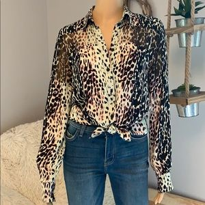 PARKER Animal Print Blouse Large